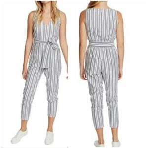 1. State Blue Striped Sleeveless Belted Jumpsuit